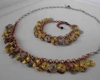 Handmade wire spirals bracelet in laiton/copper/stainless steel/german silver