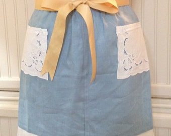 Vintage half apron linen napkin denim blue with white cutwork lace grosgrain ribbon ties