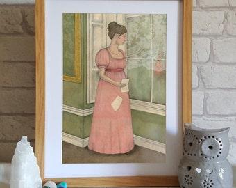 Illustration Art Print - Jane Austen Art - Regency Art  - Wall Art - Mansfield Park Illustration - Gift for Austen Lover - Austen
