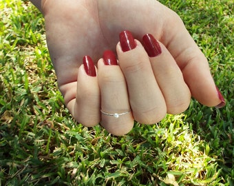 Danity Genuine Pearl Solitaire Ring 925 Sterling Silver Ring Pearl Stacking Ring Bridesmaid ring Pearl pinky ring
