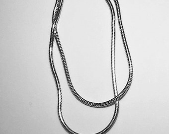 Multi strand sterling silver necklace, vintage silver necklace,