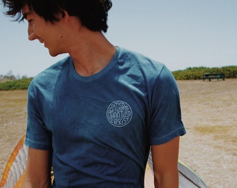 Hand Lettering Indigo Tshirt Men's Graphic Tee - Do More Than Just Exist - Shallow Reef Studio - mens indigo tshirt -  indigo graphic tee
