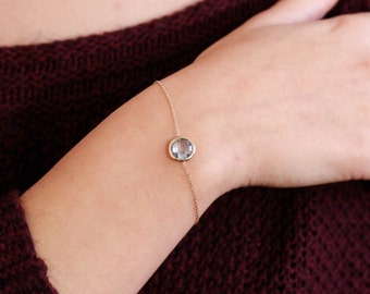 Blue Topaz Bracelet, December Birthstone, Gold Gemstone Bracelet, Onyx Gold Bracelet, Citrine Gold Bracelet, 14K Chain Bracelet, GB0282