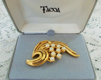 Clearance price - Faux Pearl Brooch, Mint in Box, Tacoa (Florenza) 1960s, Figural Golden Branch with Pearl Fruit