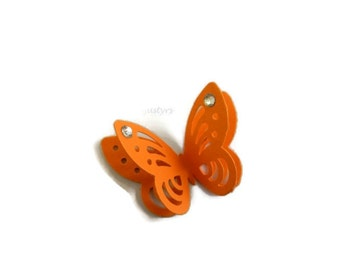 3D Orange Butterfly Rhinestone Confetti, Table Decor, Paper Butterflies, Party Decor, card making, Butterfly cake decor, Baby Shower Decor