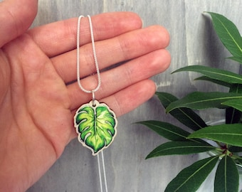 Tropical Leaf Necklace with Green Wooden Pendant & choice of Sterling Silver Chain or Grey Faux Suede Cord, fun unique holiday jewellery