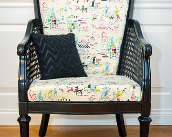 High Back Cane chair with French Flair