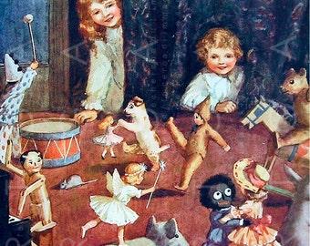 TOY'S PARTY Stunning Vintage Nursery Art. Antique Golliwog Doll Toys Illustration. Art Deco Fairy Tale Digital Download.