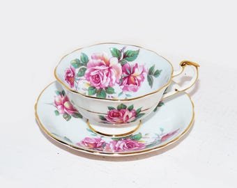 Paragon Vintage Fine Bone China Tea Cup and Saucer Pale Blue and Roses - 1031