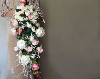 Cascading bouquet, artificial flowers, Wedding Bouquet, Traditional waterfall bouquets, white rose, pink rose, Keepsake Bouquet Rose Bouquet