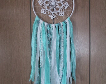 Aqua and Blue Bohemian Doily Dream Catcher