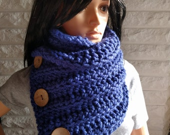 Women's button chunky neck scarf, blue neck cowl, women's winter scarf, accessories, gifts for her, fall, winter and spring fashion