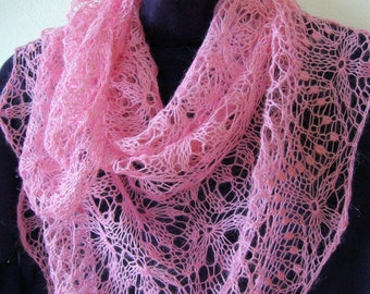 Pink hand knitted lightweight shawl warm delicate soft airy merino wool wrap ready to ship lace bactus Wedding bridesmaids shawl cozy gift