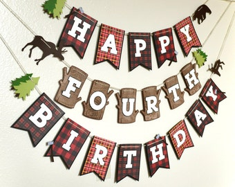 Happy Birthday Banner | Photo Shoot Prop | Party Decor | Lumberjack Theme | Woodland Theme