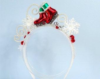 christmas headband women, ugly sweater party headband, ugly christmas sweater, ice skater, snowflake headband, red christmas headband adult