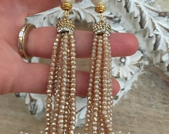 SALE | Pearl Tassel Earrings -CHAMPAGNE, NUDE, pearl and gold, beaded, dressy, party jewelry, bridal, wedding, bridesmaid gift
