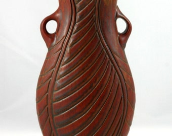 Carved Handled Vase, Wheel Thrown and Altered, Red Stoneware Vase