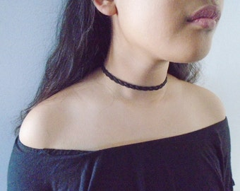 Suede choker necklace, Dark brown suede choker necklace