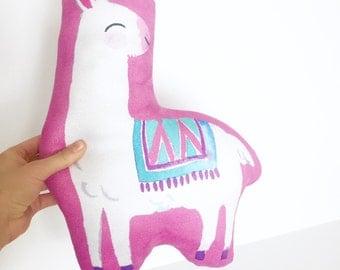 Llama, Nursery Pillow, Llama Pillow, Kids Gift, Girl Gift, Stuffed Llama, Baby Girl, Baby Shower Gift, Kids Room Decor, Pink, Llama Cushion