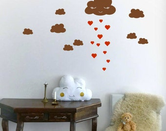 Cloud Wall Sticker, Vinyl Wall Decal, Nursery Wall Decals, Cloud Wall Decal,