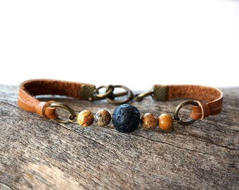 Leather Essential Oil Diffuser Bracelet - Simple Aromatheraphy Bracelet - Lava Bead DiffuserJewelry - Lava Rock Bracelet - Wellness Jewelry