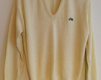 80's Garan Light Yellow V-Neck Sweater