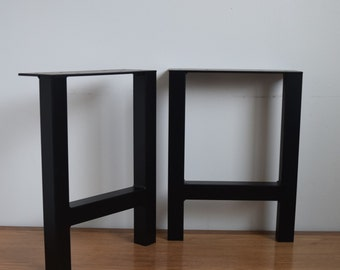 "H-Frame Metal Table Legs (12"" - 28"") Set of 2 for Dining, Coffee or Sofa Tables, Desks or Benches - Straight/Square"
