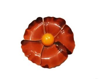 Orange Red Metal Flower Brooch, Art Deco Mod Red Floral Brooch, Floral Brooch