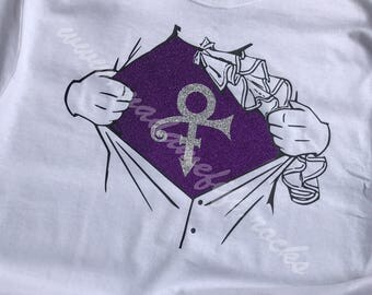 The Superhero Formerly Known as Prince Love Symbol T-shirt Purple Rain Prince Rogers Nelson Made to Order