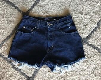 High Waisted Dark Wash Shorts
