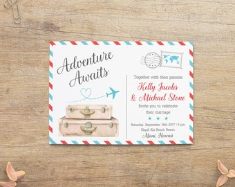Travel Wedding, Destination Wedding Invitations, World Theme, Airplane, Airline Wedding, Suitcases Postcard Invite, Blue Red RT Printable