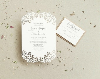 Papercut Invitation / Floral Wedding Invite / Cut Invite / Paper Cut Invite / Papercut Wedding / Rustic Invite / Delicate Invite
