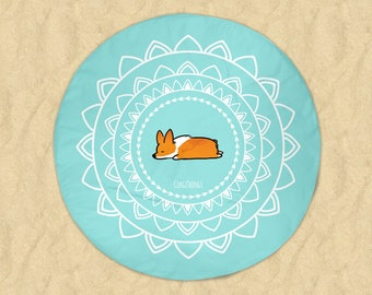 Namaste Corgi Beach Round Towel | 60x60 inch Printed Terrycloth Towel | Yoga Mandala Circle Beach Towel | Made to Order