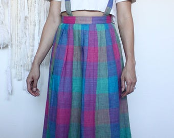 Full Plaid Skirt with Suspenders and Pockets, Oh My!