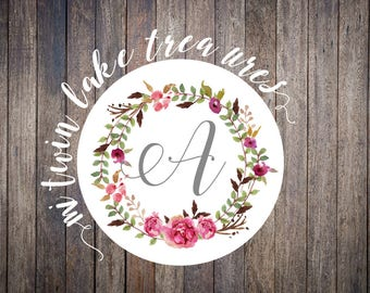Floral Wreath Initial Watercolor Stickers / Envelope & Lettering Seals / Personalized Adhesive Labels / Guest Invitation and Wedding Decor