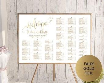 Gold Wedding Seating Chart Template, Alphabetical Seating Chart Printable,  Seating Board, Editable Seating