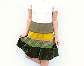 Vintage Velvet Tweed A Line Skirt Mini Skirt Skater Velour