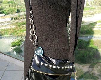 Boho Ibiza style Lacquer in black shiny  shoulder bag Cross body  Modern design    Shipping Included