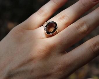 FREE SHIPPING Smoky quartz sterling silver ring