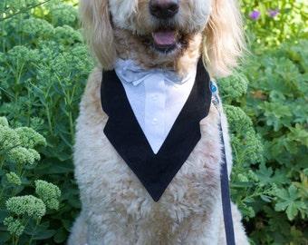 Black and White Tuxedo Dog Bandana with Bowtie