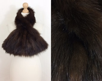 Vintage mahogany/chocolate fox real fur scarf/stole/wrap/boa