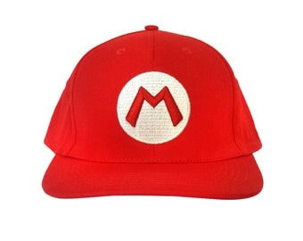 M Baseball Cap As Mario Wears In Super Mario Bros HIGH QUALITY Hat Cosplay Nintendo Video Game Plumber Brothers Kart Gamer Costume Adult Red