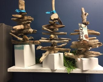 Driftwood Evergreen Tree with Microlights