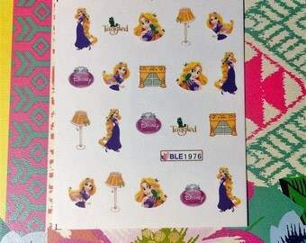 Tangled Rapunzel Disney Nail Decals Tattoo Water Transfer Party Festival B052