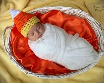 Crocheted Candy Corn Hat NEWBORN