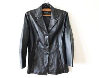 Short Black Leather Coat Genuine Leather Jacket Military Style Coat Leather Outerwear Women's Jacket Leather Fetish Size Large Leather Coat