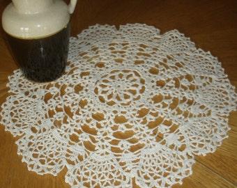 "Hand Crochet Doily - ""Lacy Fans"""
