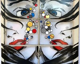 "Large Mixed Media Painting / Collage on Window - ""Things I Wish"" -  Fine Art Original by Joshua Horkey - Modern Post Pop Street Gift Art"