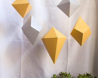 Set of 5 LARGE Paper Gems • Big Paper Polyhedra • Geometric Wedding Backdrop • Hanging Decoration