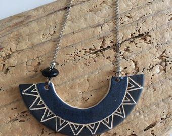 Collar, bib, geometric, blue speckled black, asymmetrical, ceramic, string